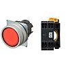Omron, A22N Red Flat Push Button Complete Unit,