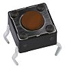 Brown Button Tactile Switch, Single Pole Single Throw