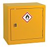 RS PRO Yellow Steel Lockable 1 Doors Flammable Cabinet, 457mm x 457mm x 305mm