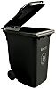 RS PRO Black Plastic Stackable Wheelie Bin, 1070mm