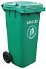 RS PRO Plastic Wheelie Bin, 1070mm x 480mm, Green