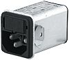 Male C14 IEC Filter Snap-In,Solder,Rated At 4A,250 V