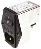 Schurter,10A,250 V ac Male Panel Mount Filtered IEC