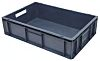 RS PRO 27L Grey PP Medium Euro Containers, 150mm x 400mm x 600mm