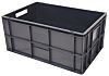 RS PRO 52L Grey PP Large Euro Containers, 600mm x 400mm x 270mm