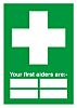 RS PRO PP Green/White, Your First Aiders Are-Text,