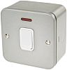Silver 20 A Surface Mount Double Pole Light Switch Grey Silver 6 mm, 1 Way Screwed Matte, 1 Gang BS Standard, 230 V ac