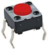 Red Button Tactile Switch, Single Pole Single Throw