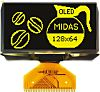 Midas 2.42in Yellow Passive matrix OLED Display 128