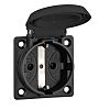 ABL Sursum Black 1 Gang Plug Socket, 16A,