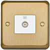 TV/FM Coaxial Satin Gold Female 1 Outlet TV