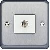 F-Type Satellite Socket Brushed Chrome Female 1 Outlet