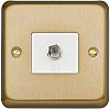 F-Type Satellite Socket Satin Gold Female 1 Outlet