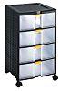 RS PRO 4 Drawer Storage Unit, PP, 629mm