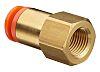 SMC Pneumatic Straight Threaded-to-Tube Adapter, G 3/8 Female