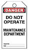 5 x 'Do Not Operate Maintenance Department' Lockout