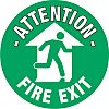 PVC FIRE EXIT, Attention - Fire Exit, English,
