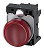 Siemens, SIRIUS ACT, Panel Mount Red LED Pilot Light Complete, 22mm Cutout, IP20, 24 V ac/dc