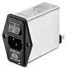 Schaffner,10A,250 V ac Male Panel Mount IEC Filter 2 Pole FN1394-10-05-11-QN-0,Faston 2 Fuse