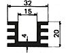 Heatsink, Universal Rectangular Alu, 1000 x 32 x 20mm