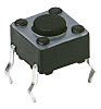 IP40 Grey Button Tactile Switch, Single Pole Single