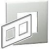Legrand Pearl Aluminium 2 Gang Cover Plate Polycarbonate