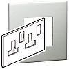 Legrand Pearl Aluminium 2 Gang Cover Plate BS, Socket Cover Plate