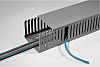 HellermannTyton HTWD-PD Grey Slotted Panel Trunking - Open Slot, W37.5 mm x D50mm, L2m, PVC