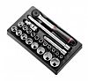 Facom MOD.S161-36 23 Piece Socket Set, 1/2 in