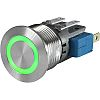 Push Button Touch Switch, Momentary ,Illuminated, Green, IP40,