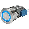 Push Button Touch Switch, Momentary ,Illuminated, Blue, IP40,