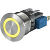 Push Button Touch Switch, Momentary ,Illuminated, Yellow, IP40,