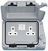 Contactum Grey 2 Gang Plug Socket, 2 Poles,