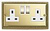 Contactum Gold 2 Gang Plug Socket, 2 Poles,