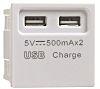 Contactum White 2 Gang Plug Socket, 500mA, USB