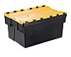 RS PRO 65L Yellow PP Attached Lid Container,